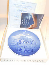 Bing + Grondahl B+G Denmark 1985 Mothers Day Plate with Coa/Box - Bears & Cubs