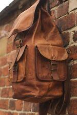 Large Men's Vintage Style Real Genuine Leather Bag Rucksack Backpack Dark Brown
