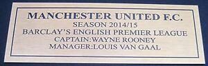 English Premier League  Manchester United 2014-2015  gold Sublimated Plaque