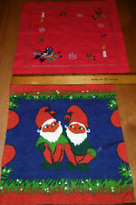 Knee Hugging Elves Fabric Square and Hand Embroidered Christmas Napkin Lot Ooak
