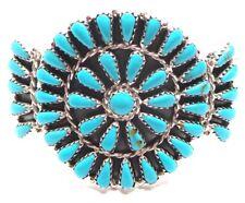Sterling Silver Navajo Cluster stabilize turquoise bracelet