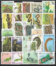 SNAKES Collection Packet of 25 Different Stamps of World Used
