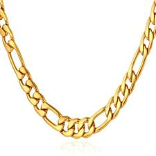 U7 Jewelry Stainless Steel Based 18K Gold Plated Figaro Chain Men Necklace