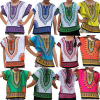 Boy Girl Kids Unisex Bright African Colour Child Dashiki Loose Shirt Tee Tops KK