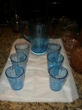 Aunt Polly Depression glass US. glass co. pitcher and 6 tumblers excellent
