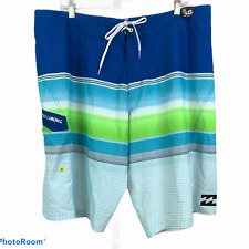 BILLABONG Mens 38 Platinum X All Day Stripe Board Shorts Blue Green M121EASX