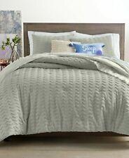 Martha Stewart 3 Pc King Comforter Set Whim Chevron Chenille Grey