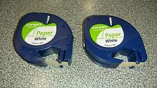 2 x Genuine Dymo Letratag Tape Maker Paper on White Label 12mm x 4m 92630