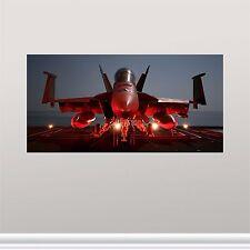 """12""""x24"""" US Navy F-18 Night Hornet Aircraft Wall Art Panel Modern Vinyl Canvas"""