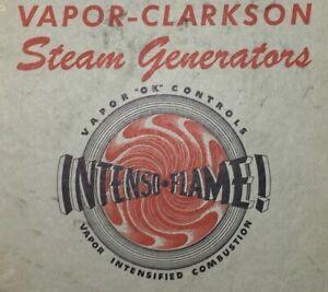1950 Vintage Intenso Flame Vapor Clarkson Steam Generators Maintenance Book