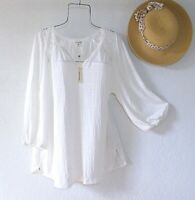 New~$68~White Peasant Blouse Crochet Lace Textured Shirt Boho Plus Size Top~1X