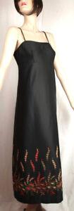 Vestido de Noche Maxi Cóctel Largo Vintage DDR 70er Bordado Negro Noble
