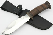 Handmade Zlatoust Russian Hunting Knife, Stainless, Leather Handle - RACOON