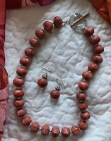 """RED SPONGE CORAL 18"""" TOGGLE NECKLACE & EARRING SET"""