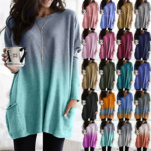Plus Size Women Tunic Shirt Tops Loose Casual Jumper Pullover Long Sleeve Blouse