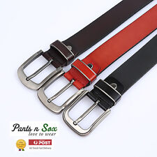New Mens Busneiss Leather Belt Red Brown Black Design RRP 38 AU STOCK