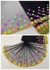 """7"""" 1Y Embroidered Tulle Lace Trim Black Yellow Pink Green Magic Little One"""
