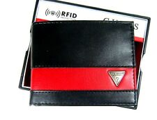 Guess Men's Wallet RFID Blocking Security Bifold Black Red 31GO130015
