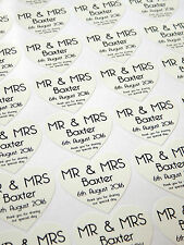 28 Personalised Mr & Mrs Stickers Thank You..Special Day Wedding Sticker - White