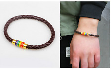 Black Leather Bracelet Bangle LGBT Rainbow Dublin Pride Party Jewelry