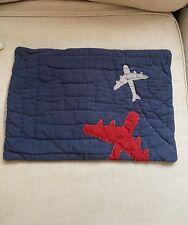 Restoration Hardware Baby Pillow Sham Navy Airplanes Quilted Pick Stitch 12/18