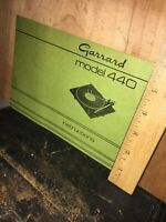 Garrard Model 440 Turntable Operators Manual.