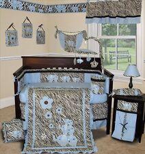 Baby Boutique - Blue Zebra - 14 pcs Boy Girl Crib Bedding Set incl. Music Mobile