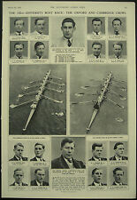 Oxford v Cambridge Crews For 102nd University Boat Race 1952 Magazine Article