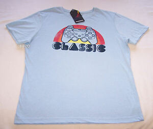 Sony Playstation Controller Mens Blue Printed Short Sleeve T Shirt Size M New