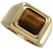 Square Cut Brown Tiger Eye 18kt Gold EP Solitaire Mens Ring