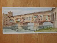 FLORENZ Alte Brücke Firenze Toscana Arno Italien Aquarell von Catineri (?)