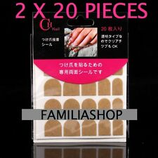 2 X 20 AUTOCOLLANT COLLE DOUBLE FACE CAPSULE TIPS FAUX ONGLE NAIL ART