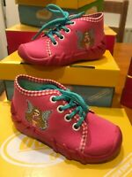 Befado Pink Jersey/Gingham Laced Bootee  Sparkle Fairy Motif  Non-Slip sz22/5.5
