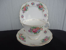 vintage tuscan trio white floral cup saucer & plate