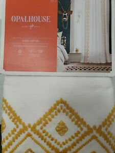"Opalhouse Global Border Sheer Curtain 1 Panel 50"" x 84"" White/ Yellow Rod Pocket"