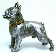 PEWTER HAND MADE MINIATURE  FRENCH BULLDOG DOG  FIGURINE  STATUETTE