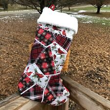 Christmas stocking Embroidered Handmade Durable Cardinals Tartan Spirit Gift