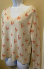 Skull Cashmere Ivory & Peach V Neck Womens Small Fits Medium Maybe Large Sweater
