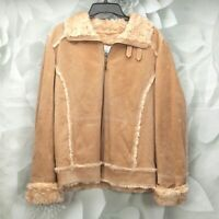 Wilsons Leather Maxima Women's Suede Jacket Size XL Zip Front Fur Lined Wheat