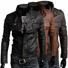 Unbranded Faux Leather Hip Length Coats & Jackets for Men