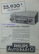 PUBLICITE PHILIPS AUTORADIO POSTE RADIO STATION SERVICE DE 1958 FRENCH AD PUB