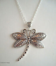 "Large Dragonfly Pendant 32"" Long Chain Necklace in Gift Bag"