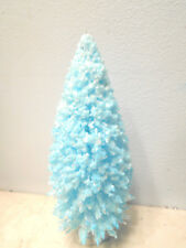 Light Turquoise Blue Flocked Bottle EasterTree Shabby Chic Crystal Glitter