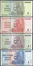 [7532] - VIER BANKNOTEN: ZIMBABWE 10 - 20 - 50 - 100 TRILLION (TRILLIONEN).