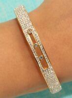 NEW 14k Yellow Gold Finish 4ct Round Brilliant Bangle Bracelet 7 inches Pretty