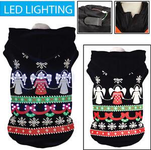 Pet Life LED Lighting Patterned Holiday Hooded Pet Dog Sweater Costume