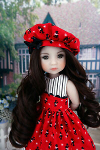 """Toy Poodle - dress, hat & shoes for 14.5"""" Ruby Red Fashion Friends doll"""