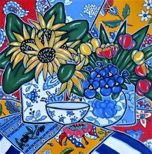 """Original acrylic still life painting on canvas , 24"""" x 24"""", French Country, red"""