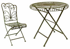 Bottle Green Round Table & 2 or 4 Folding Chairs Wrought Iron Garden Furniture