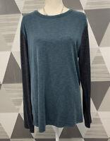 Theory Women's XL Green Merged Crew Neck Long Sleeve Sweatshirt Blouse #15C14